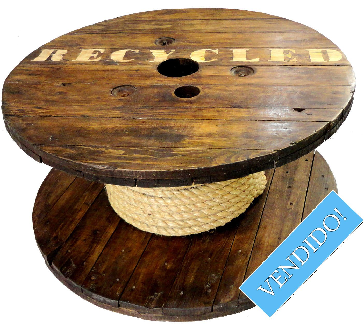 Mesinha Carretel Recycled Primitive Furniture Spool Tables