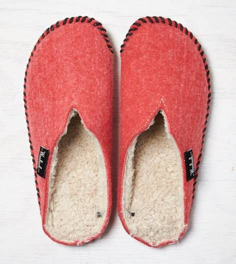 Red Woolrich Felt Mill Scuff Slipper