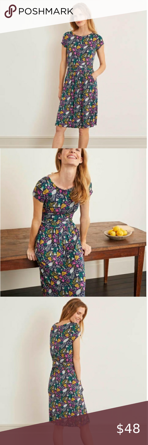 Boden Amelie Jersey Dress in Navy Paradise Size 8R