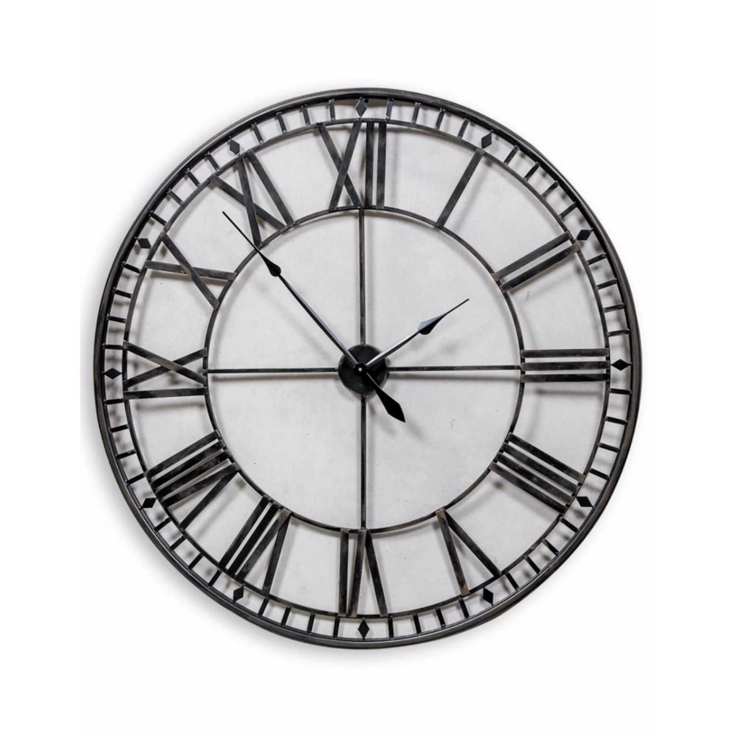Large Iron 120cm Diameter Round Black Painted Metal Skeleton Wall Clock Roman Numerals In 2020 Roman Numeral Wall Clock Skeleton Wall Clock Wall Clock