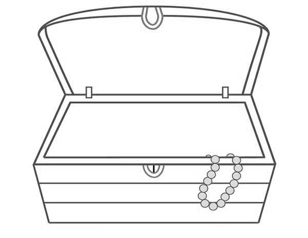 An Empty Treasure Chest And A Single Necklace Coloring Page