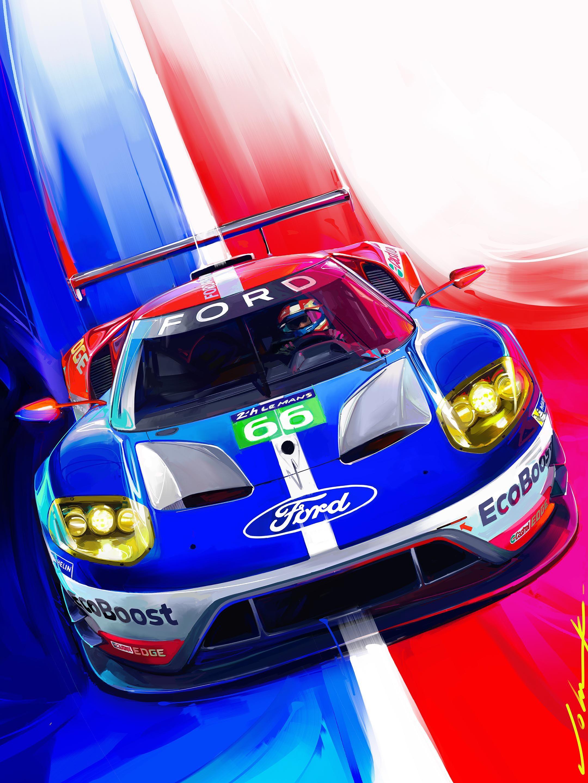 Road Track Cover Art June 2016 Fordgt Le Mans Ford Gt40 Art Ford Gt Automotive Artwork