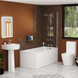 cesar single ended shower bath with screen, front panel