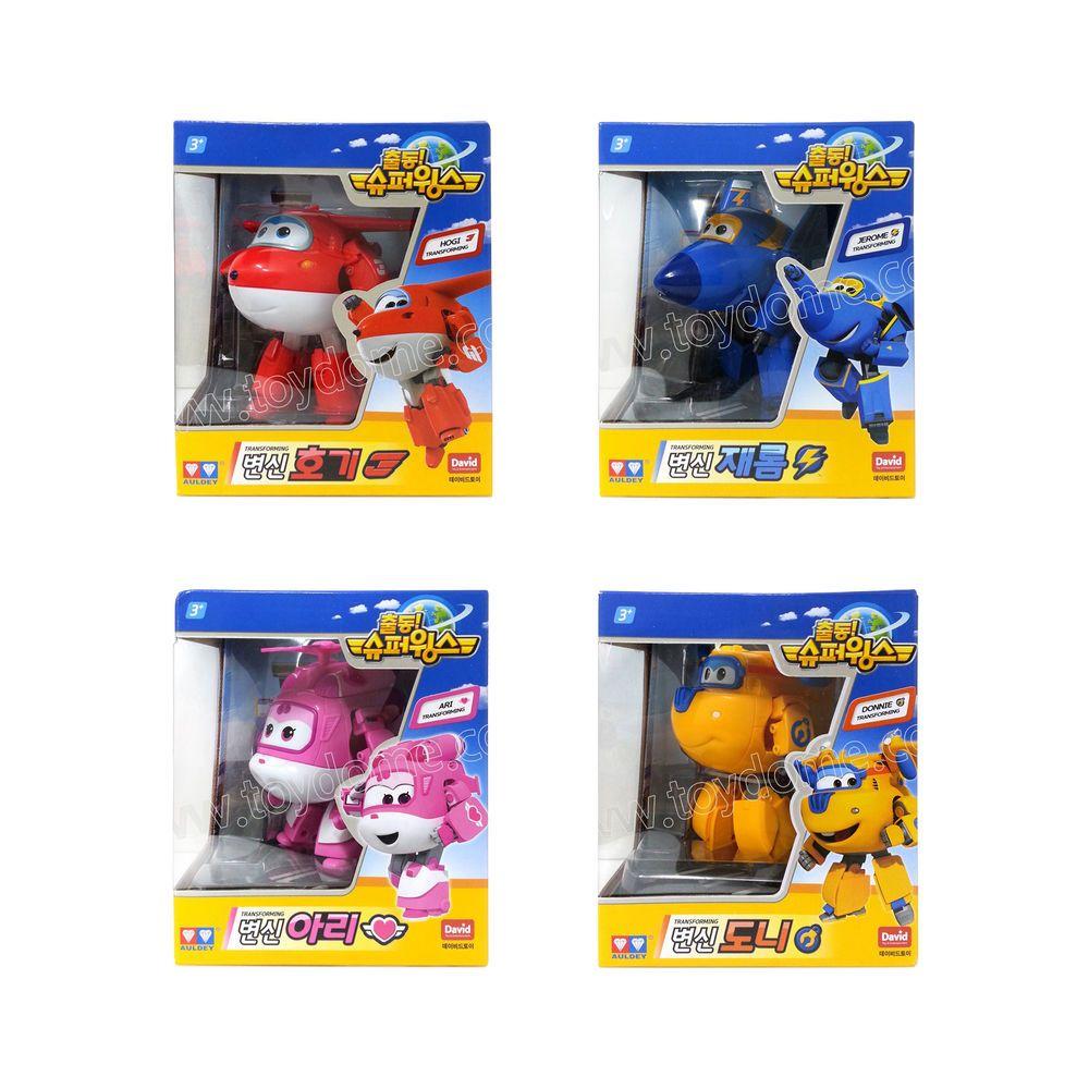 Hogi Jerome Ari Donnie Super Wings Transforming Robot Plane Kids Toy 4pcs Set