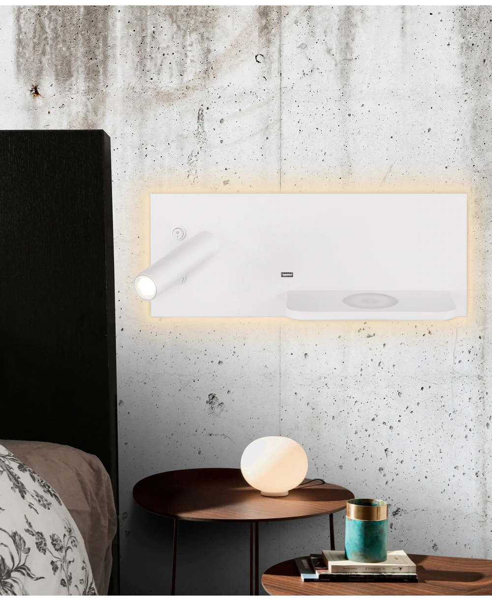 Bedroom Phone Wireless Charger Shelf Wall Lights Garner Nordic In 2020 Wall Shelves Wall Lights Hanging Light Fixtures #wireless #living #room #lights