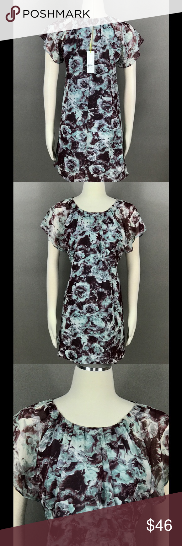 BCBGeneration Dress Sz S Floral Chiffon Layered BCBGeneration Blue Brown Dress Sz S Floral Print Chiffon Layered Pleated Flutter Sleeve Lined NEW BCBGeneration Dresses Mini