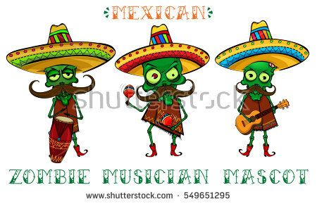 Mexican zombie musicians mascot. Vector illustration of cartoon zombies with music instruments, mexican hats and clothes. Good for posters, t-shirt prints, stickers, invitations.