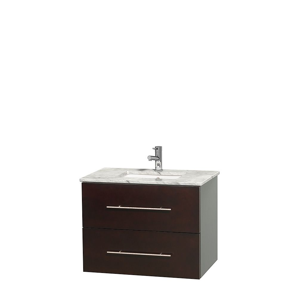 30-inch single vanity is available with Carrera marble countertop or no countertop and no sink with single-hole faucet mount and undermount square sink (faucet mount and sink options apply to products with counters only) and no mirror.