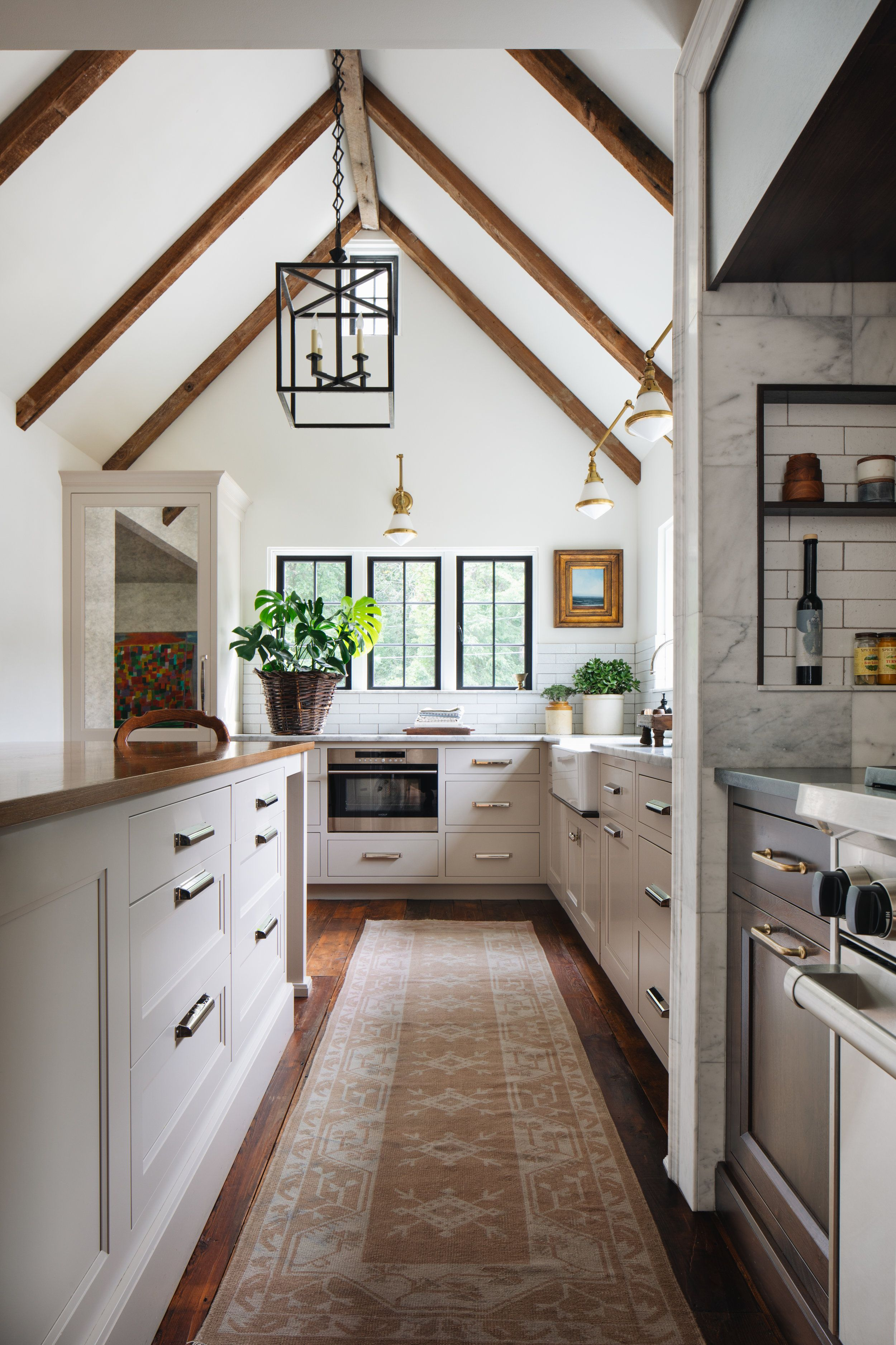 kitchen with vaulted ceilings and wood beams reclaimed wood beams lantern l english cottage on kitchen cabinets vaulted ceiling id=40370