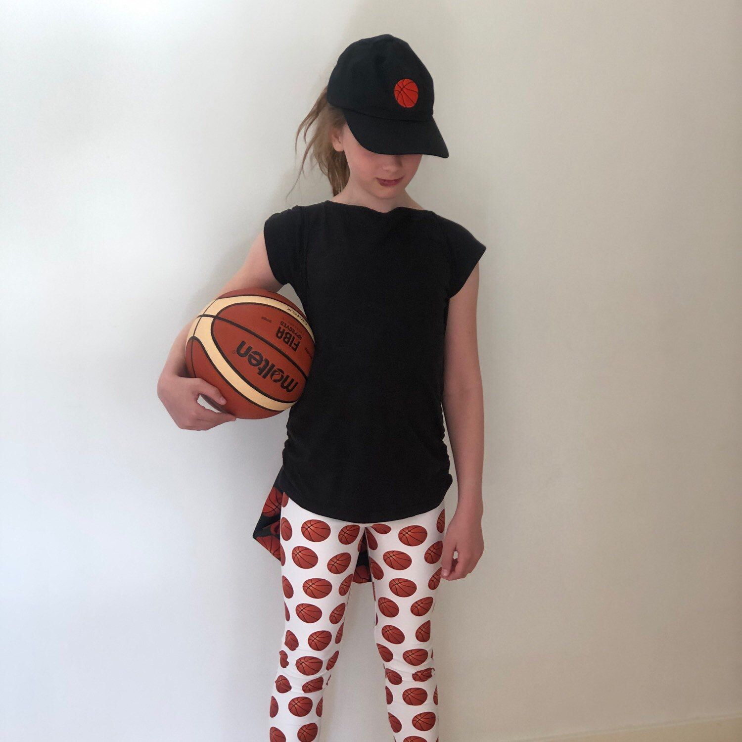 Basketball Print Youth Leggings Black Or White Option Size 8 Etsy Sport Outfits Beautiful Leggings Basketball Leggings