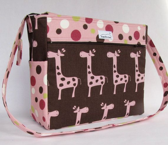 pink giraffes diaper bag, 12 compartments, cross body strap, knitting project bag on Etsy, £43.68
