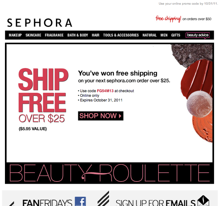 SephoraS Beauty Roulette Email Follow Up  Marketing