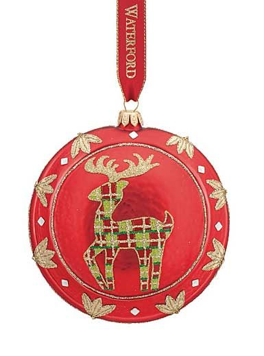 Waterford Holiday Red Reindeer Medallion Ornament Zoom