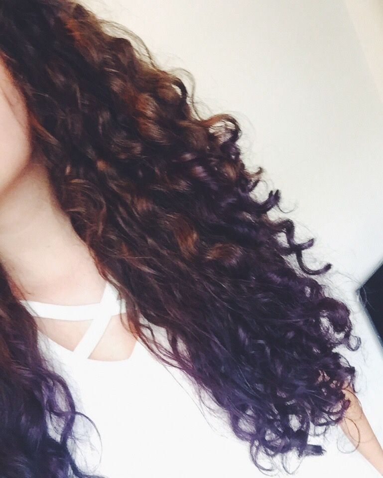 Dark Curly Hair With Purple Dip Dye Ombre Curly Hair Styles Dark Curly Hair