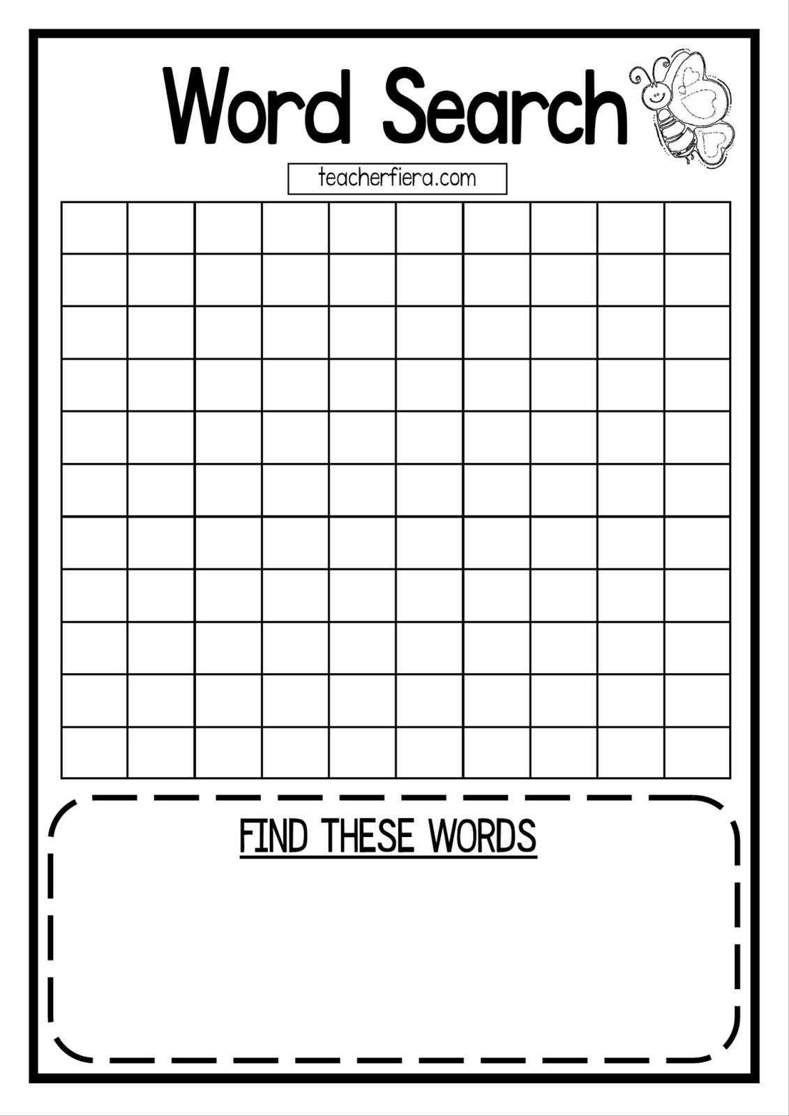 Teacherfiera Word Search Templates Coloured And Black