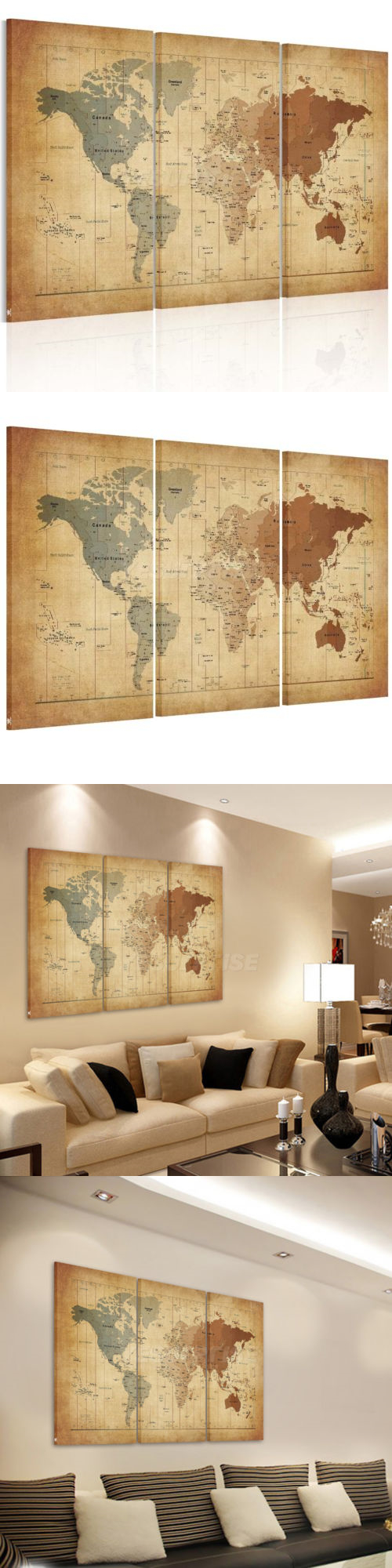 Art Paintings Mixed Media Collage: Vintage Framed World Map Canvas ...