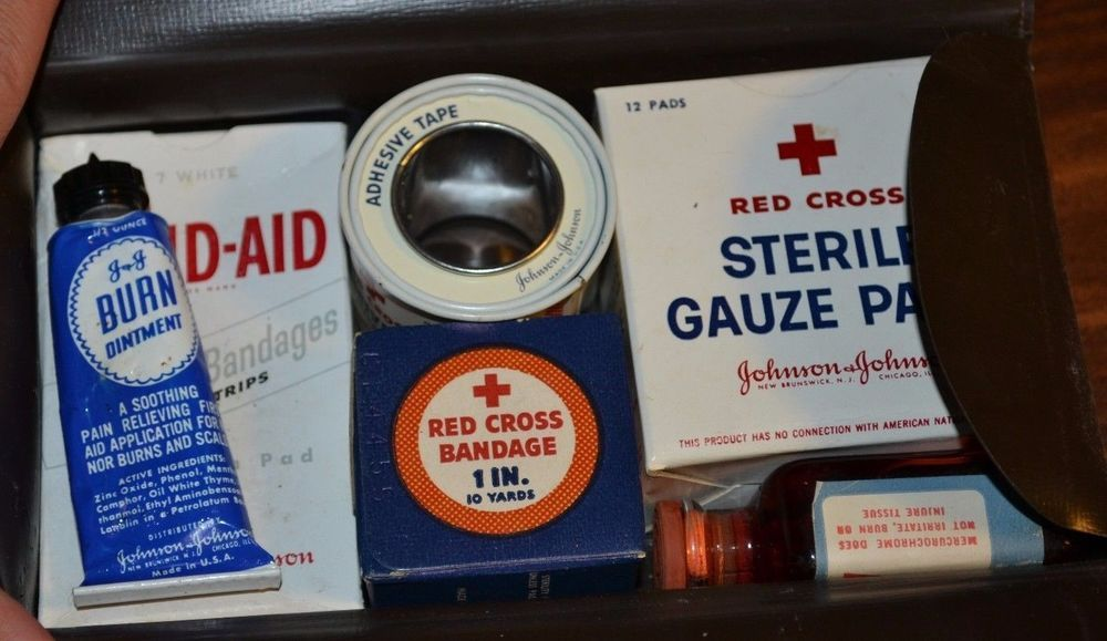 """Vintage First Aid Kit """"The First Aider"""" The Chemstrand Corporation #Chemstrand"""