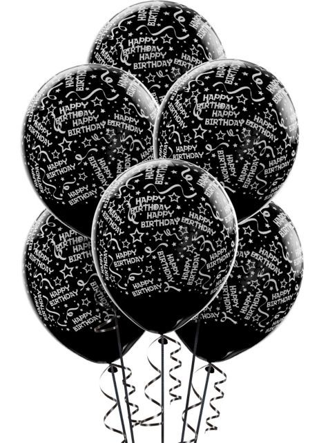 Confetti Black Birthday Balloons