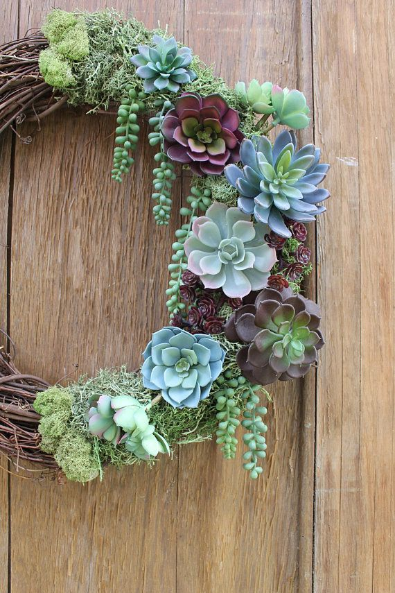 Photo of Succulent Wreath, Summer Wreath, Purple Succulents, Succulent Decor, Purple Wreath, Natural Wreath, Faux Succulent Wreath, Rustic Wreath