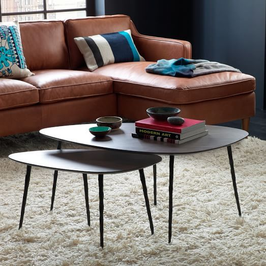 Architect Nesting Coffee Tables And Tan Leather Sofa Nestingsidetables Side Moderndesign Living Room