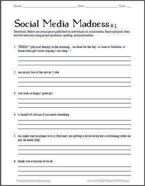 Social Media Madness Grammar Worksheet #1 | Free worksheet