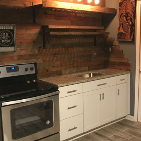 Rustic wood backsplash kitchen shelves wood palette pendant light