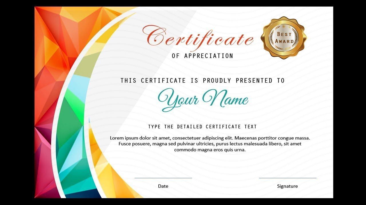 How To Make A Certificate In Powerpoint Professional Certificate Design Fr Certificate Design Certificate Design Template Certificate Of Participation Template Make a certificate of completion