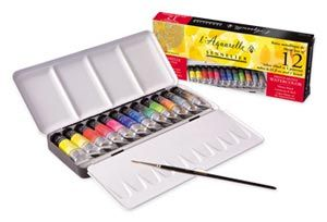 Sennelier L Aquarelle Watercolour Paint Metal Tin Set 12 X 10ml