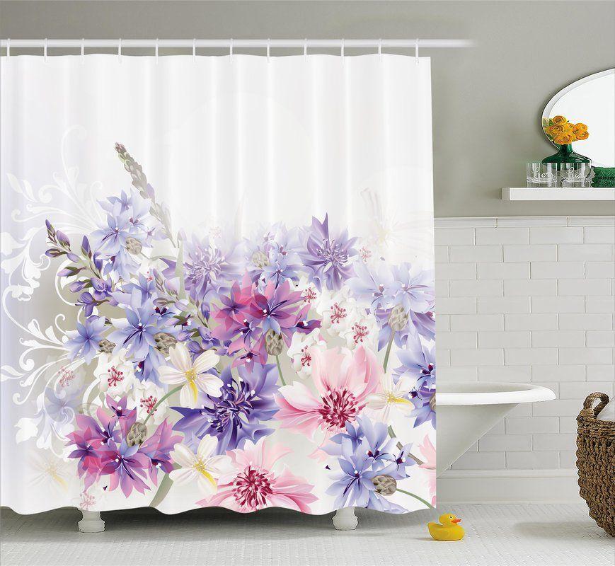 Burma Pink Purple Flowers Single Shower Curtain Lavender Shower
