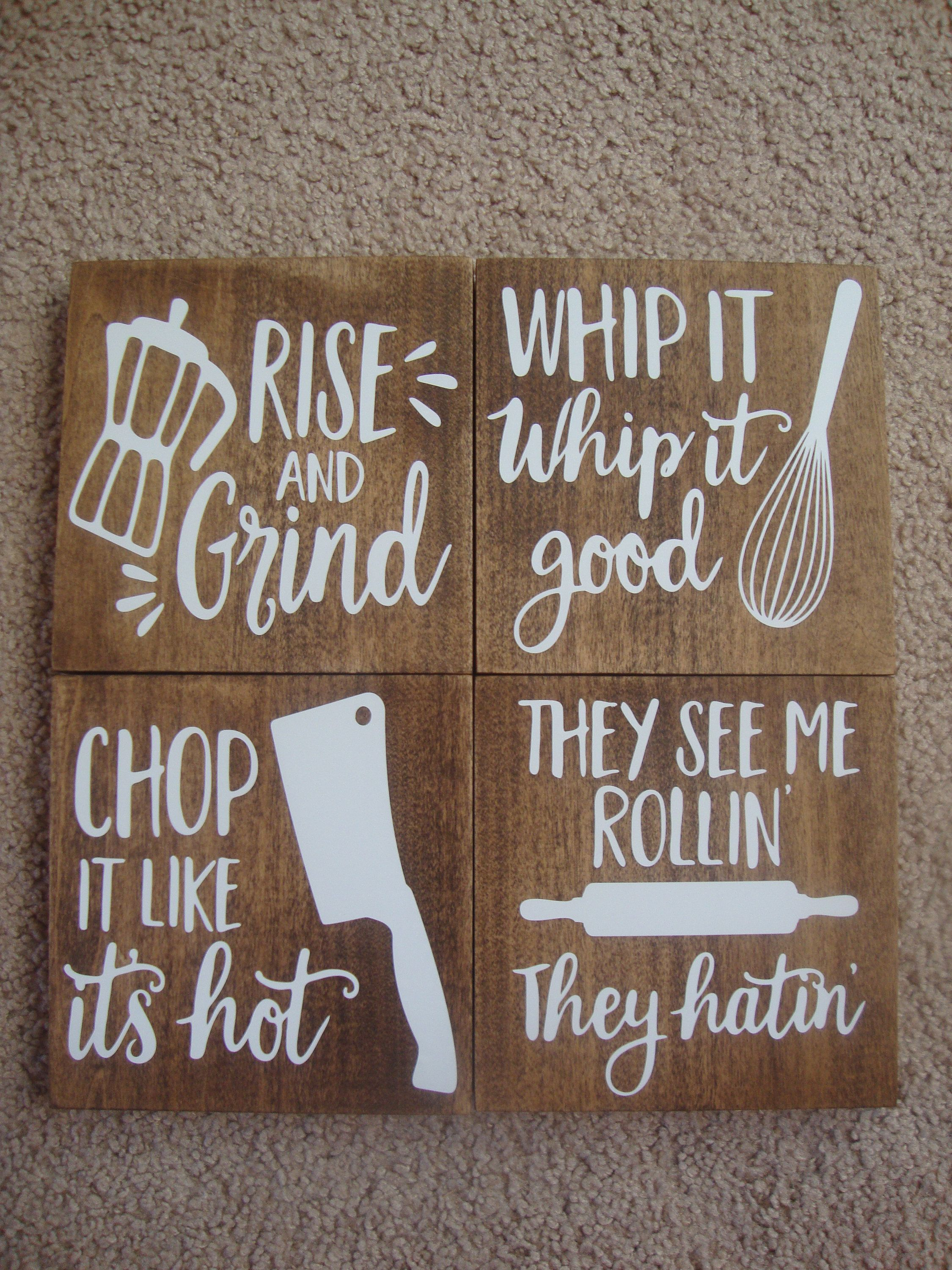 Kitchen Signs For Home Wood Mode Kitchens Set Of 4 Funny Decor Farmhouse Sign Wedding Gift Coffee Quote By Deannascraftcottage On Etsy