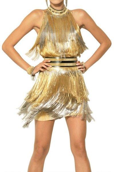 Tina Turner Fringe Dress Gold