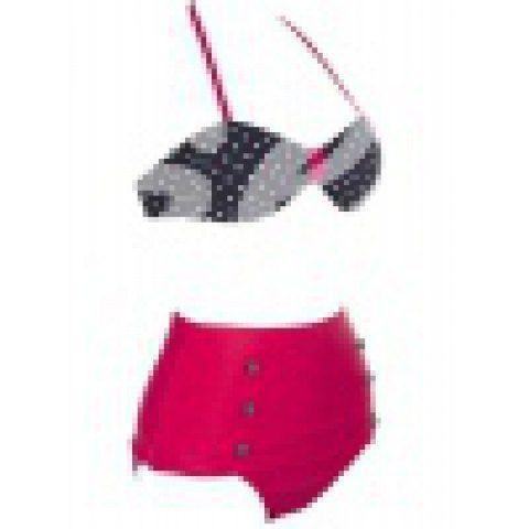 Women's Retro Vintage Swimsuits Swimwear Bandeau High Waisted Bikini Set(Black Rose Red) Swimwear   RoseGal.com Mobile