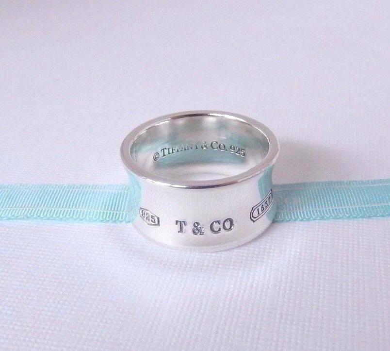 a1b96fb7e9ee9 Tiffany & Co Size 10.5 Sterling Silver Wide 1837 Concave Ring Band ...