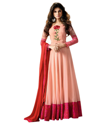 593ecb067e8 This is a lovely peach color semi stitched free size anarkali dress and the  fabric is good quality georgette art silk and it has a smooth finishing.  the ...