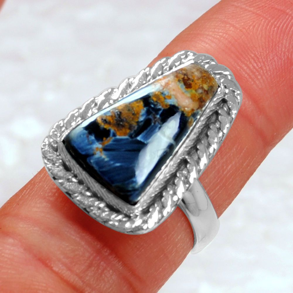 large product stone ring band gallery silver normal yurman with rings silverblue in pietersite lyst exotic jewelry david