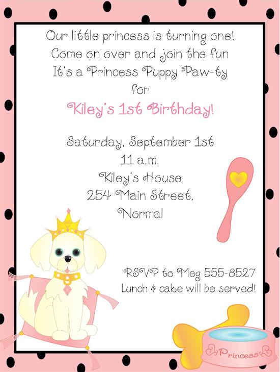 Princess Puppy Dog Birthday Party Invitations Puppy Princess