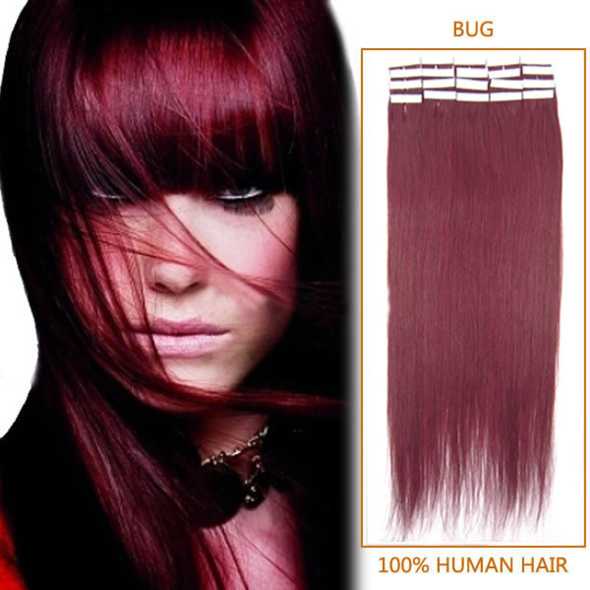 Burgundy Straight Tape In Hair Extension Tape In Hair Extension