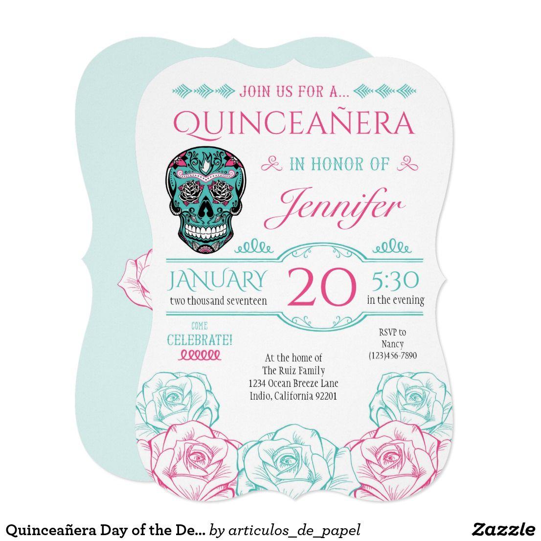 Quinceañera Day of the Dead Sugar Skull Invitation | day of the dead ...