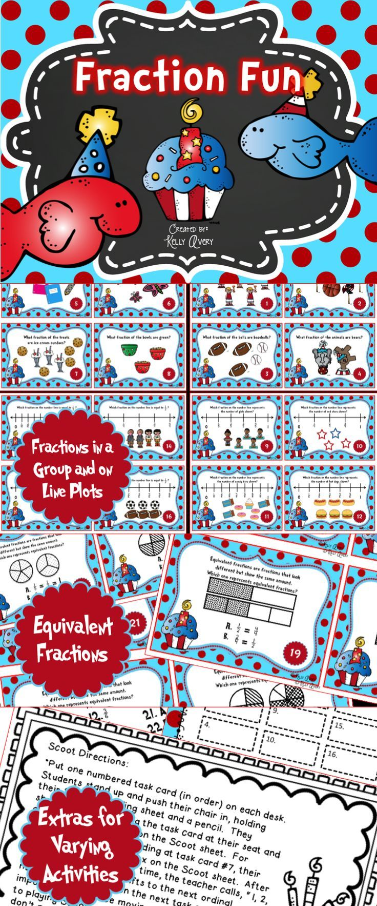 Fractions on a Number Line Task Cards | Math test and Math