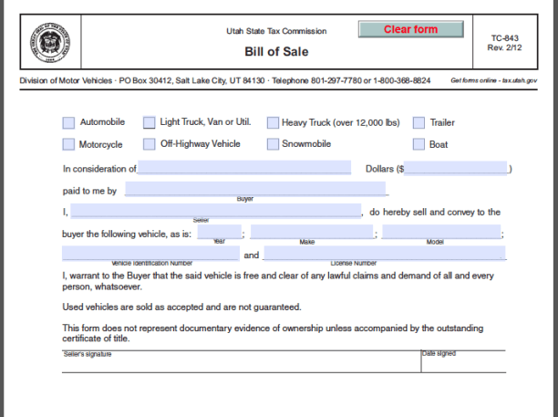 Utah Bill Of Sale Form  Forms    Utah And Pdf
