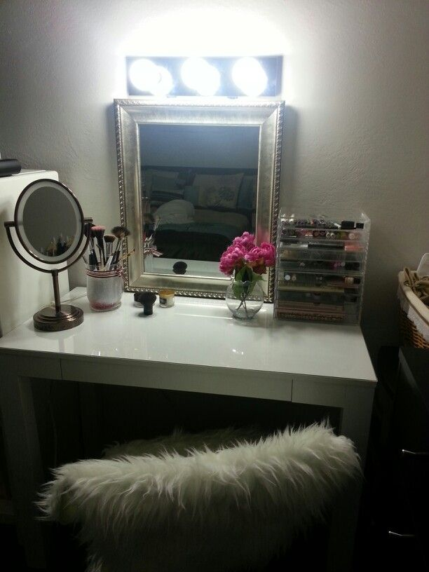 Vanity Table With Mirror. Table From Walmart $56, Mirror From Ross $15,  Acrylic