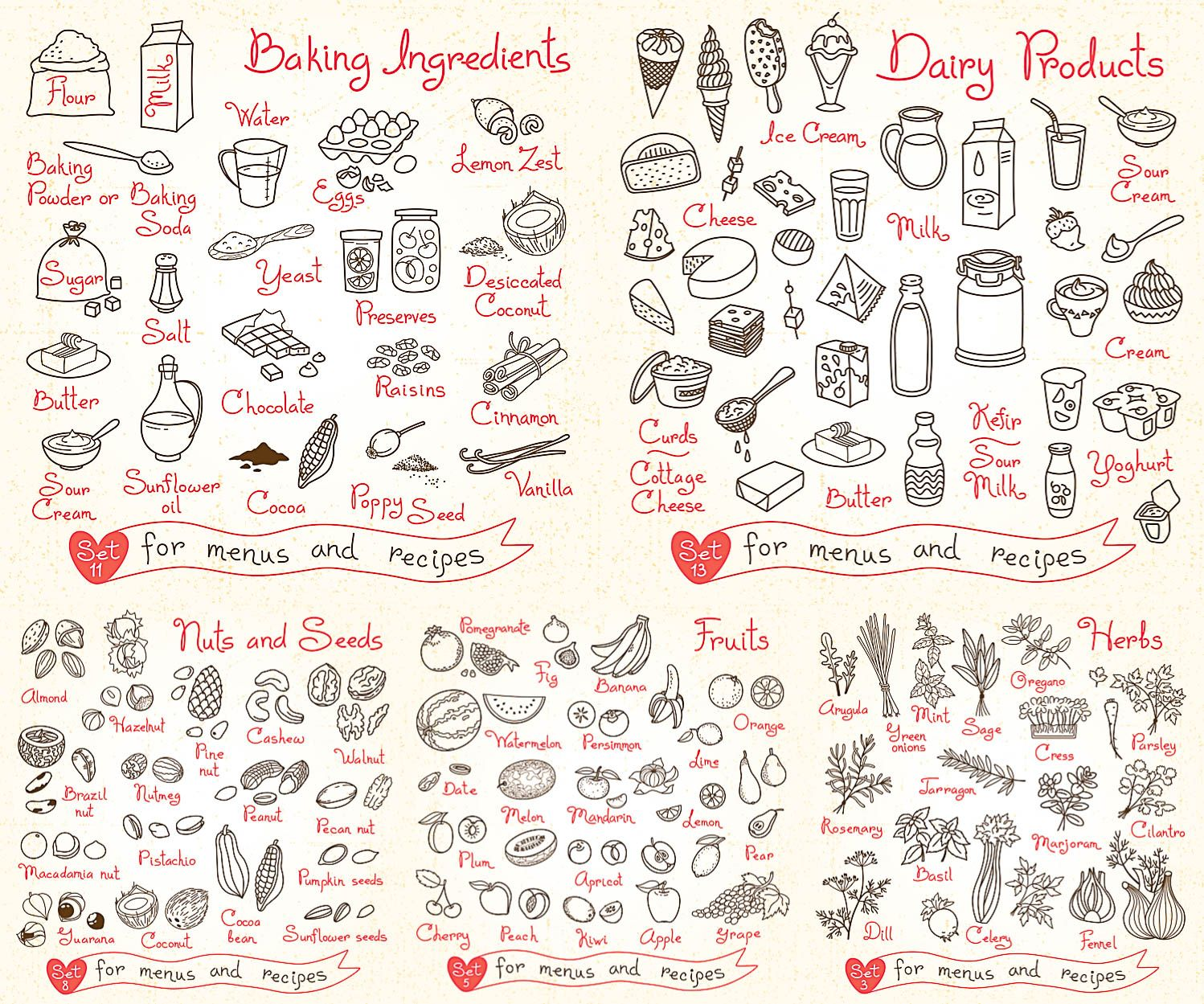 Hand Drawn food icons for menus and recipes in vector free