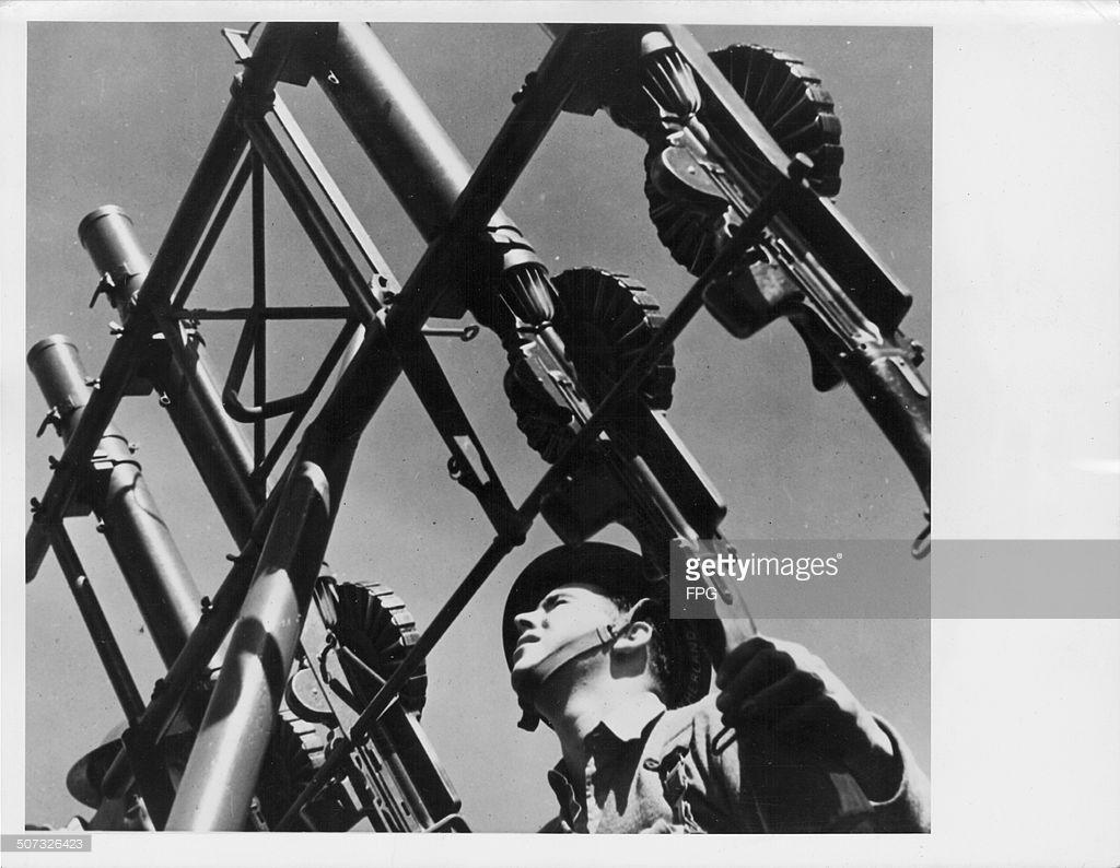 Four Lewis guns fixed to a naval gun mounting on a anti