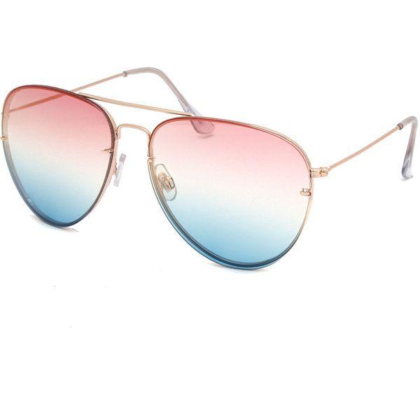 1f8ece63be79 Full Tilt Rainbow Aviator Sunglasses ( 9.99) ❤ liked on Polyvore featuring  accessories