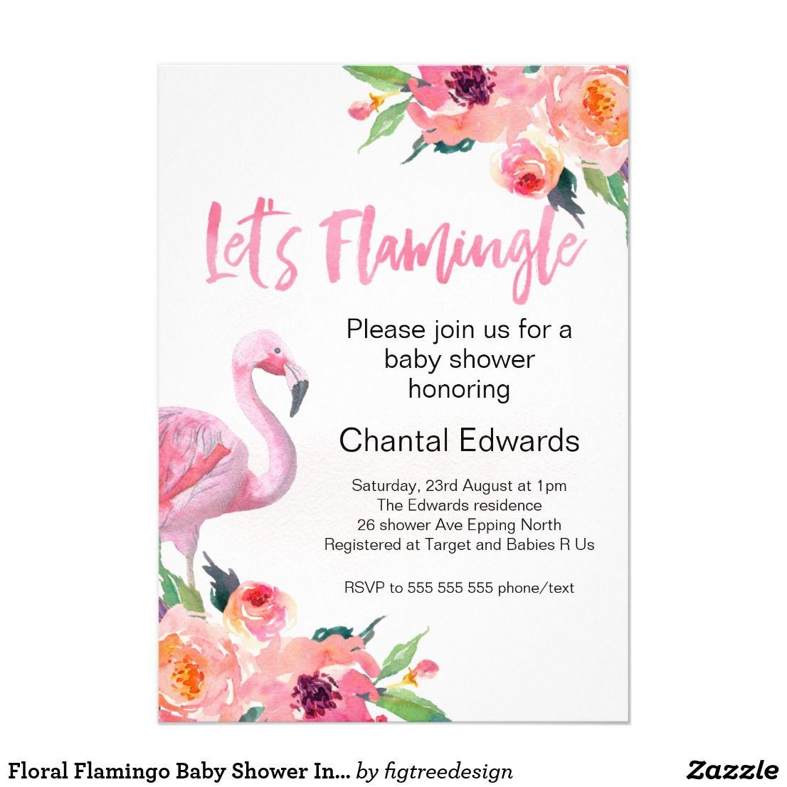 Floral Flamingo Baby Shower Invitation | Flamingo baby shower, Baby shower  invitations, Invitations