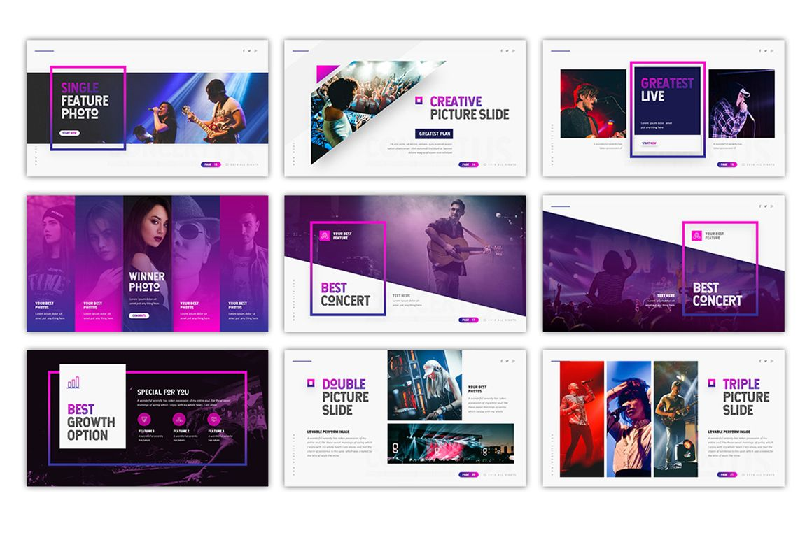 Concertus Event Powerpoint Template 75492 Powerpoint Templates Powerpoint Design Templates Presentation Design Template