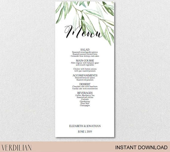 Rustic Leaves Olive Branch Wedding Menu printable template (PDF - menu printable template