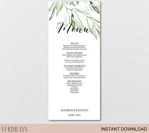 Rustic Leaves Olive Branch Wedding Menu printable template (PDF - menu printable template