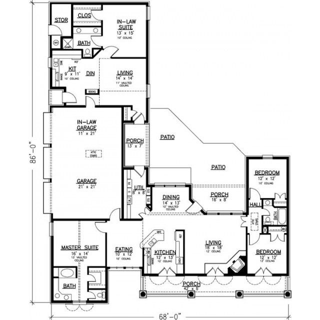 Love The In Laws Suite Neat House Design For Elder Parents One Day May Need Single Story House Floor Plans Family House Plans Multigenerational House Plans