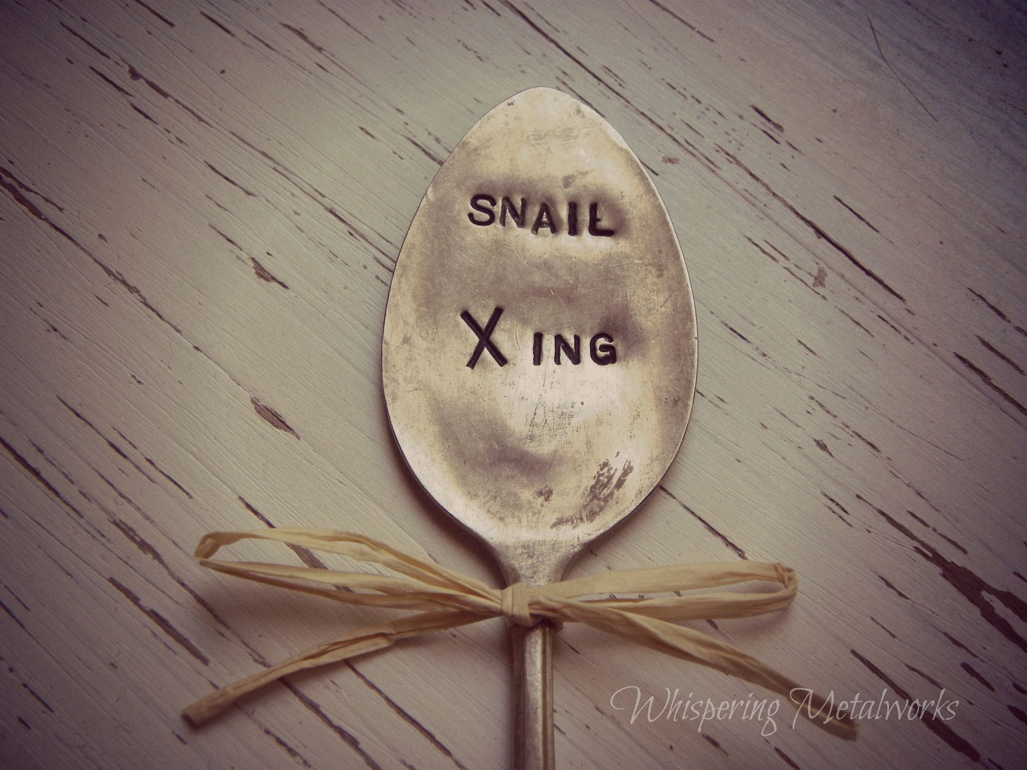 SNAIL XING silver plated spoon - garden pick - garden marker - vintage - antique
